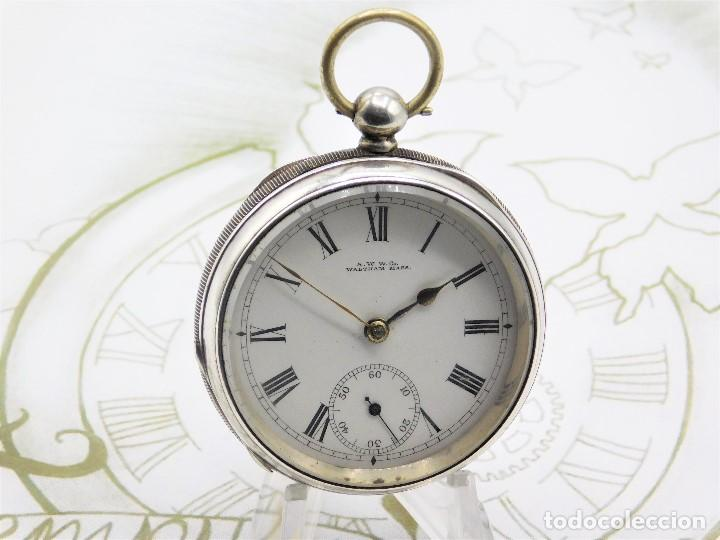 Relojes de bolsillo: WALTHAM-RELOJ BOLSILLO-DE PLATA-CIRCA 1890-FUNCIONANDO-3 TAPAS - Foto 6 - 142611454