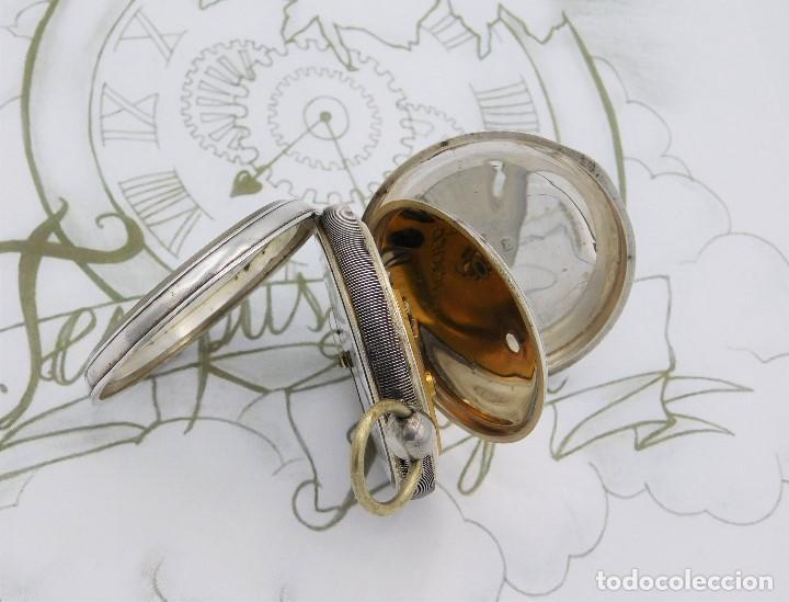 Relojes de bolsillo: WALTHAM-RELOJ BOLSILLO-DE PLATA-CIRCA 1890-FUNCIONANDO-3 TAPAS - Foto 10 - 142611454