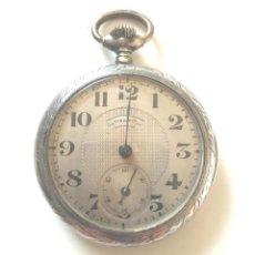 Relojes de bolsillo: LONGINES RELOJ BOLSILLO DE PLATA, NO FUNCIONA. MED. 42 MM SIN CONTAR TIJA. Lote 142676166