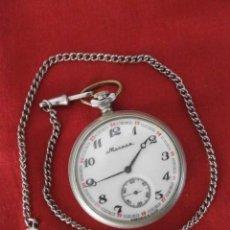 Relojes de bolsillo: ANTIGUO RELOJ DE CUERDA MECÁNICO MILITAR DE BOLSILLO SOVIÉTICO URSS UNIÓN SOVIÉTICA RUSIA FUNCIONA. Lote 143169998