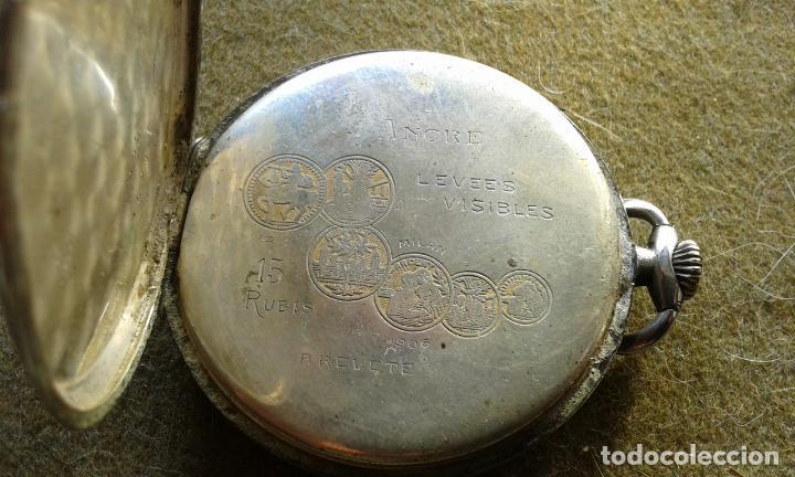 Relojes de bolsillo: RELOJ DE BOLSILLO DE PLATA MARCA ANCRE A CUERDA, FUNCIONA , AUNQUE ALGUNAS VECES SE PARA - Foto 4 - 143258266