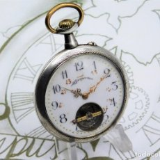 Relojes de bolsillo: BONHEUR-PRECIOSO Y RARO RELOJ BOLSILLO REMONTOIR-DE PLATA-SUIZO-CIRCA 1900-FUNCIONANDO. Lote 143383466