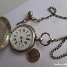 Relojes de bolsillo: MUY ANTIGUO (SOBRE 1900) GRANDE E IMPORTANTE RELOJ BOLSILLO TODO EN PLATA MACIZA 3 TAPAS COMPLETO . Lote 143565330