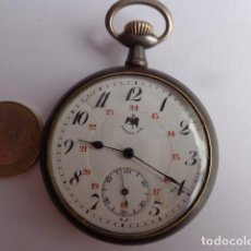 Relojes de bolsillo: MUY ANTIGUO (PRINCIPIOS DE 1900) RAROY BONITO RELOJ BOLSILLO DEL GALLO DE HIERRO PAVONADO COMPLETO. Lote 143566174