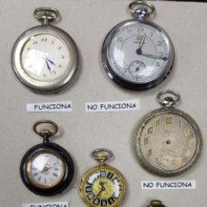 Relojes de bolsillo: LOTE DE 7 RELOJES PRINCIPIO DE SIGLO XX PARA RESTAURAR. Lote 143640726