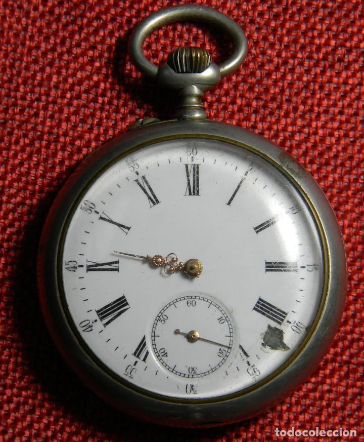 ANTIGUO RELOJ DE BOLSILLO CABALLERO - ALPACA - 108 GRAMOS - 52 MM - NUMERADO Y CONTRASTADO. FUNCIONA (Relojes - Bolsillo Carga Manual)