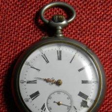 Relojes de bolsillo: ANTIGUO RELOJ DE BOLSILLO CABALLERO - ALPACA - 108 GRAMOS - 52 MM - NUMERADO Y CONTRASTADO. FUNCIONA. Lote 143958202