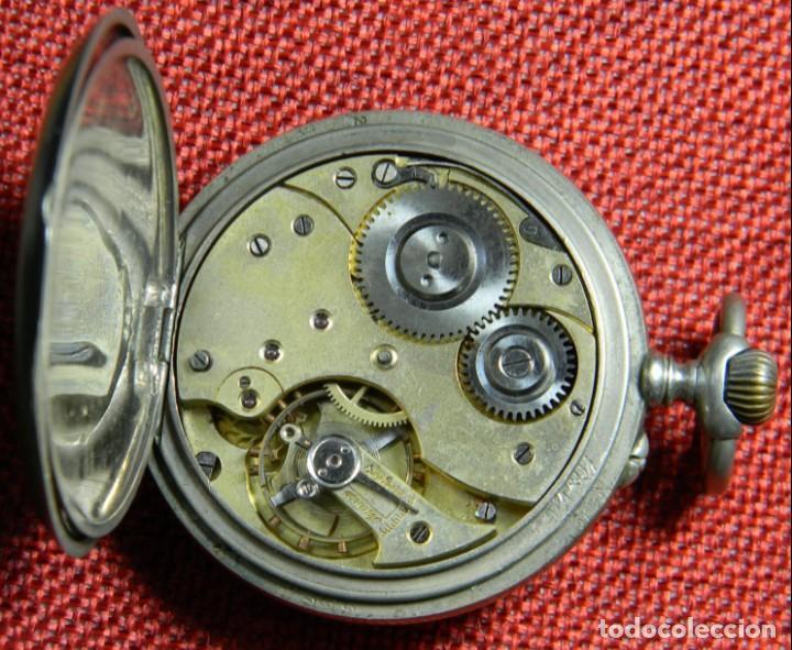 Relojes de bolsillo: Antiguo reloj de bolsillo Caballero - Alpaca - 108 gramos - 52 mm - Numerado y contrastado. Funciona - Foto 6 - 143958202