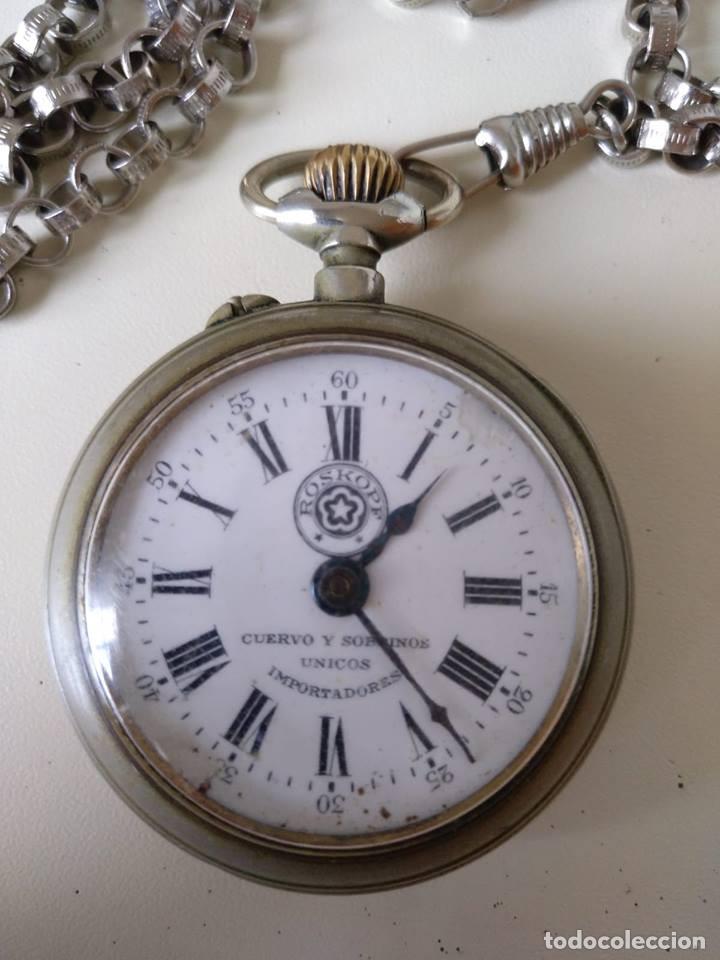 RELOJ DE BOLSILLO ROSKOPF, DE CUERVO Y SOBRINOS, LA HABANA. CON CADENA. LA MAQUINARIA FUNCIONA BIEN (Relojes - Bolsillo Carga Manual)