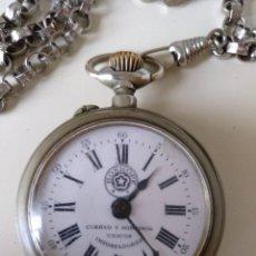 Relojes de bolsillo: RELOJ DE BOLSILLO ROSKOPF, DE CUERVO Y SOBRINOS, LA HABANA. CON CADENA. LA MAQUINARIA FUNCIONA BIEN. Lote 144320586