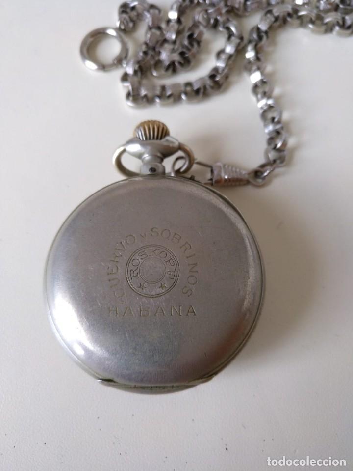 Relojes de bolsillo: Reloj de bolsillo Roskopf, de Cuervo y Sobrinos, La Habana. Con cadena. La maquinaria funciona bien - Foto 3 - 144320586