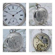 Relojes de bolsillo: TAVANNES WATCH Cº- ENCANTADOR RELOJ DE BOLSILLO SABONETA-DE PLATA-FUNCIONANDO. Lote 144580058