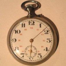 Relojes de bolsillo: RELOJ BOLSILLO AÑOS 50, MAQUINARIA LA ALONDRA, 3 TAPAS, FUNCIONA. MED. 5 CM. Lote 145219966