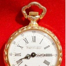 Relojes de bolsillo: ANTIGUO RELOJ DE BOLSILLO PEQUEÑO O DE OJAL MARCA THERMIDOR CARGA MANUAL BAÑO EN ORO 17 RUBIS SUIZA. Lote 58558294