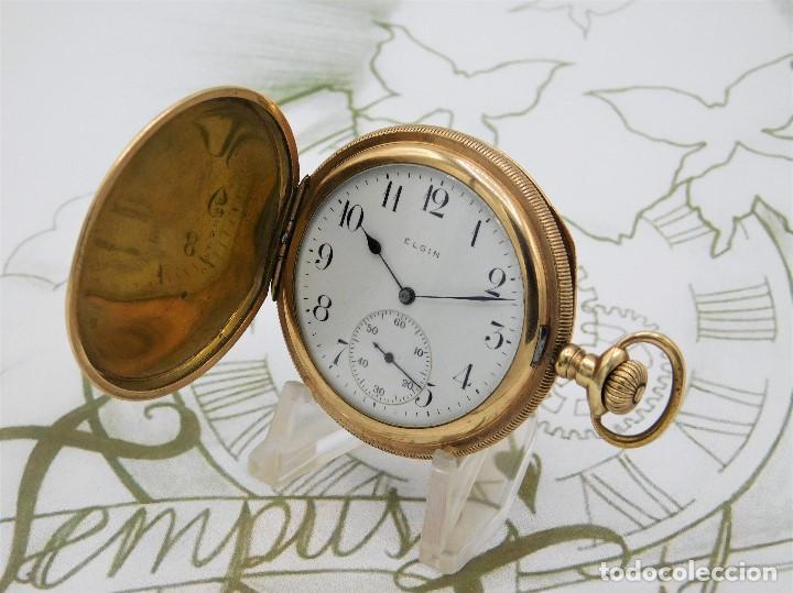 Relojes de bolsillo: ELGIN NAT.WATH Cº USA-FANTASTICO RELOJ BOLSILLO-17 RUBÍS-3 TAPAS-CIRCA 1911-FUNCIONANDO - Foto 10 - 145750674