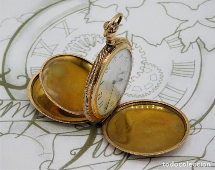 Relojes de bolsillo: ELGIN NAT.WATH Cº USA-FANTASTICO RELOJ BOLSILLO-17 RUBÍS-3 TAPAS-CIRCA 1911-FUNCIONANDO - Foto 3 - 145750674
