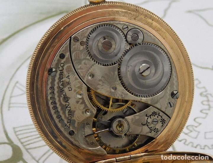 Relojes de bolsillo: ELGIN NAT.WATH Cº USA-FANTASTICO RELOJ BOLSILLO-17 RUBÍS-3 TAPAS-CIRCA 1911-FUNCIONANDO - Foto 6 - 145750674