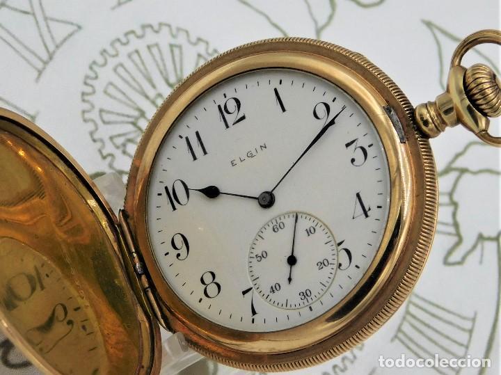Relojes de bolsillo: ELGIN NAT.WATH Cº USA-FANTASTICO RELOJ BOLSILLO-17 RUBÍS-3 TAPAS-CIRCA 1911-FUNCIONANDO - Foto 2 - 145750674