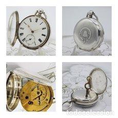 Relojes de bolsillo: RELOJ BOLSILLO JHON WILLIAM HAMMON-H.COZENS-VICTORIANO-DE PLATA-CIRCA 1874-CON LLAVE-FUNCIONANDO. Lote 145763350