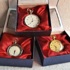 Relojes de bolsillo: BONITOS 3 RELOJES BOLSILLO QUARTZ COLOR PLATA Y ORO CON GRABADOS SIN USO - EN CAJA ORIGINAL. Lote 146280454