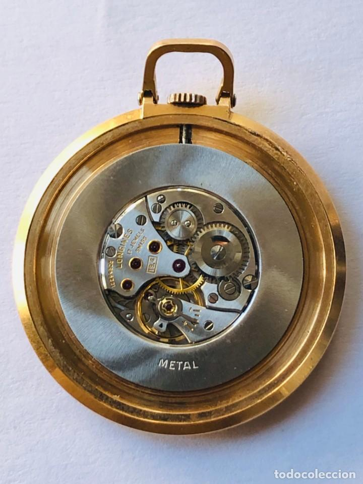 Relojes de bolsillo: Reloj bolsillo Longines Oro años 70 con leontina de oro - Foto 8 - 146385906