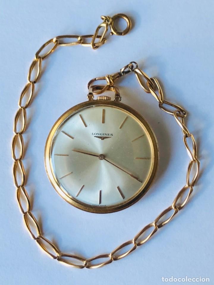 RELOJ BOLSILLO LONGINES ORO AÑOS 70 CON LEONTINA DE ORO (Relojes - Bolsillo Carga Manual)