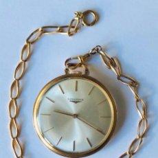 Relojes de bolsillo: RELOJ BOLSILLO LONGINES ORO AÑOS 70 CON LEONTINA DE ORO. Lote 146385906