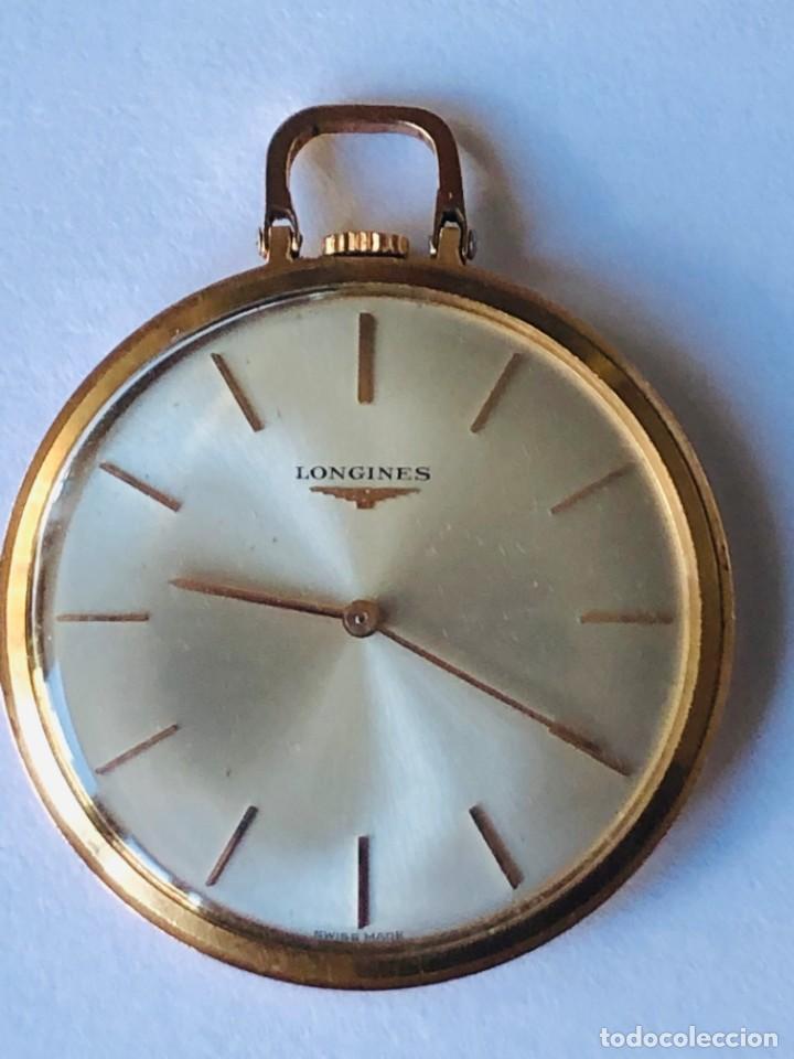 Relojes de bolsillo: Reloj bolsillo Longines Oro años 70 con leontina de oro - Foto 2 - 146385906