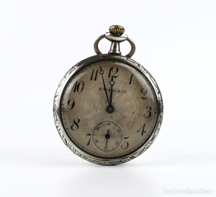 G.WAHL & CO,SUIZA - RELOJ DE BOLSILLO CARGA MANUAL A CUERDA- CAJA DE PLATA CINCELADA- CA.1890 (Relojes - Bolsillo Carga Manual)
