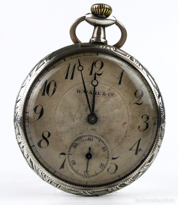 Relojes de bolsillo: G.Wahl & Co,Suiza - Reloj de bolsillo carga manual a cuerda- caja de plata cincelada- Ca.1890 - Foto 2 - 146588682