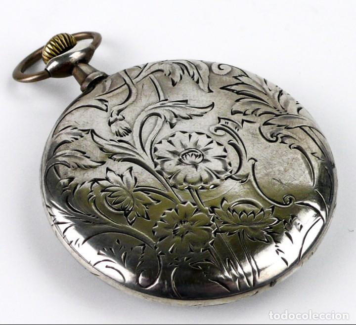 Relojes de bolsillo: G.Wahl & Co,Suiza - Reloj de bolsillo carga manual a cuerda- caja de plata cincelada- Ca.1890 - Foto 5 - 146588682