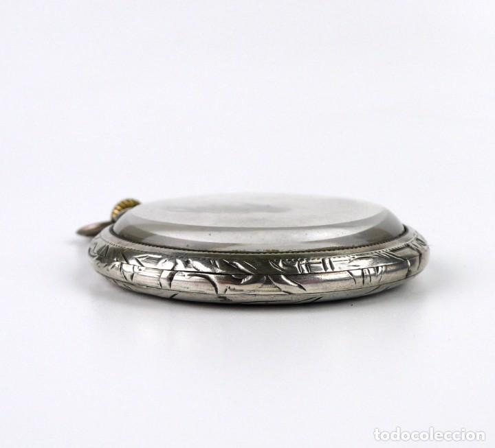 Relojes de bolsillo: G.Wahl & Co,Suiza - Reloj de bolsillo carga manual a cuerda- caja de plata cincelada- Ca.1890 - Foto 6 - 146588682