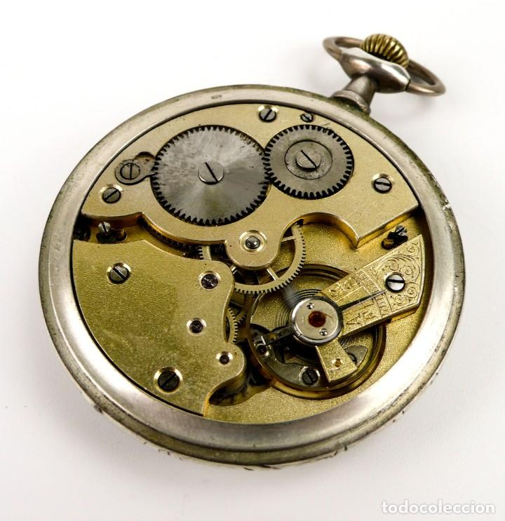 Relojes de bolsillo: G.Wahl & Co,Suiza - Reloj de bolsillo carga manual a cuerda- caja de plata cincelada- Ca.1890 - Foto 7 - 146588682