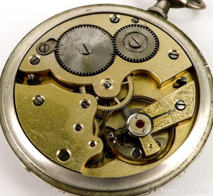Relojes de bolsillo: G.Wahl & Co,Suiza - Reloj de bolsillo carga manual a cuerda- caja de plata cincelada- Ca.1890 - Foto 8 - 146588682