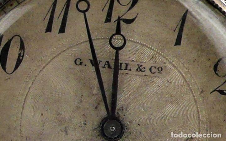 Relojes de bolsillo: G.Wahl & Co,Suiza - Reloj de bolsillo carga manual a cuerda- caja de plata cincelada- Ca.1890 - Foto 3 - 146588682