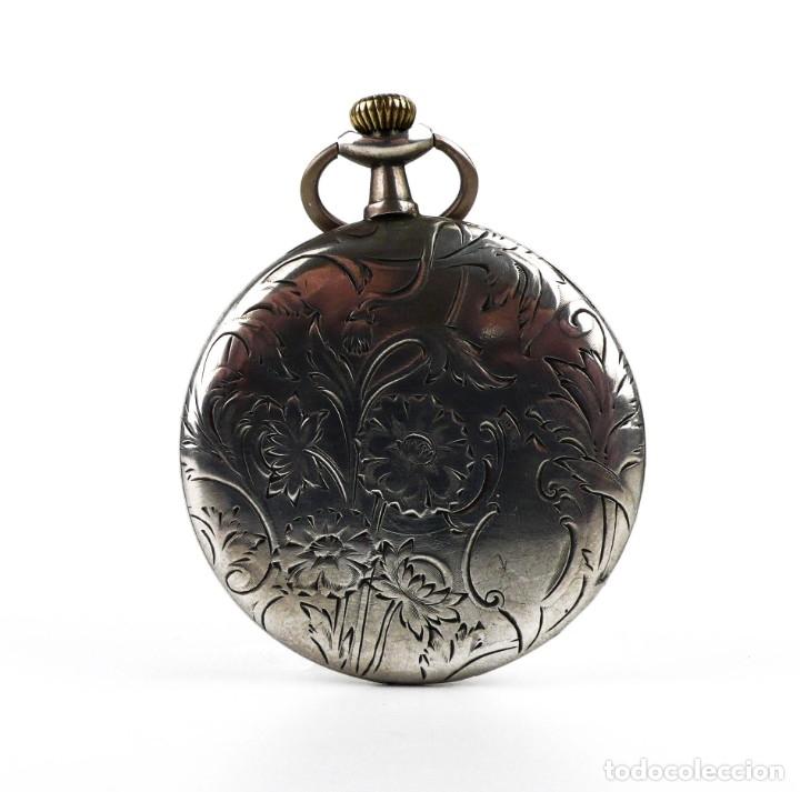 Relojes de bolsillo: G.Wahl & Co,Suiza - Reloj de bolsillo carga manual a cuerda- caja de plata cincelada- Ca.1890 - Foto 10 - 146588682