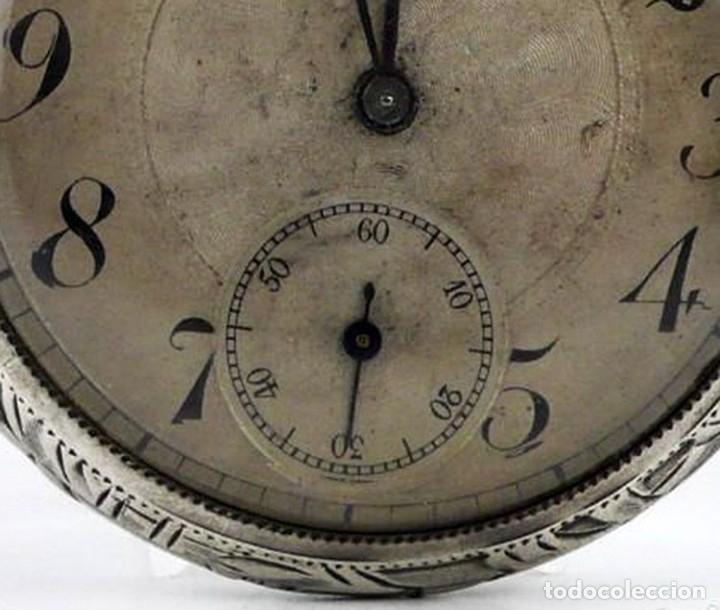 Relojes de bolsillo: G.Wahl & Co,Suiza - Reloj de bolsillo carga manual a cuerda- caja de plata cincelada- Ca.1890 - Foto 11 - 146588682