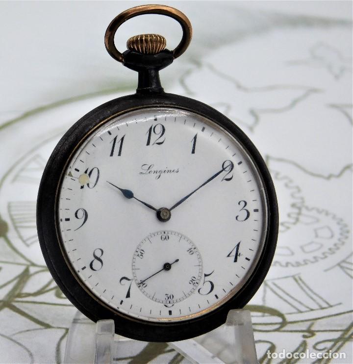 LONGINES-RELOJ DE BOLSILLO-2 TAPAS-CIRCA 1908-FUNCIONANDO (Relojes - Bolsillo Carga Manual)