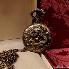 Relojes de bolsillo: RELOJ DE BOLSILLO BRONCE CON DRAGÓN GRABADO.. Lote 147108514