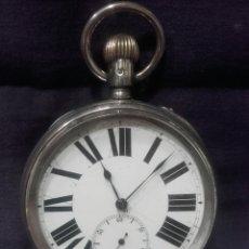 Relojes de bolsillo: MAGNÍFICO RELOJ GOLIAT DE PLATA CON MARCAS. SWISS MADE. Lote 147293454