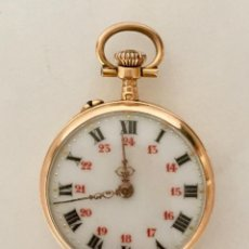 Relojes de bolsillo: RELOJ BOLSILLO FRANCES 2,5 CM ORO AMARILLO 18 KT VINTAGE 1838-1919 PUNZON CABALLO Y LETRAS SG. Lote 147442374
