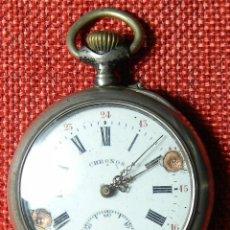 Relojes de bolsillo: RELOJ MARCA CHRONOS. TIPO LEPINE. CAJA DE PLATA. ESFERA DE PORCELANA. 1910. NO FUNCIONA. MEDALLA ORO. Lote 147892478