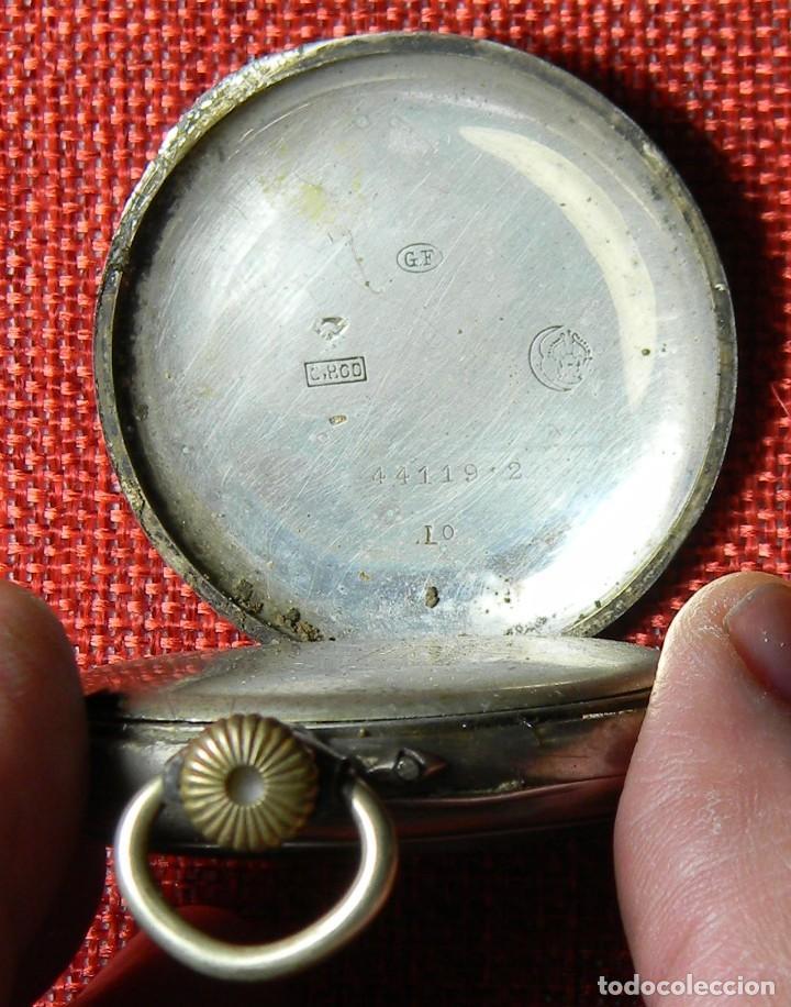 Relojes de bolsillo: Reloj marca Chronos. Tipo Lepine. Caja de plata. Esfera de porcelana. 1910. No funciona. Medalla oro - Foto 5 - 147892478