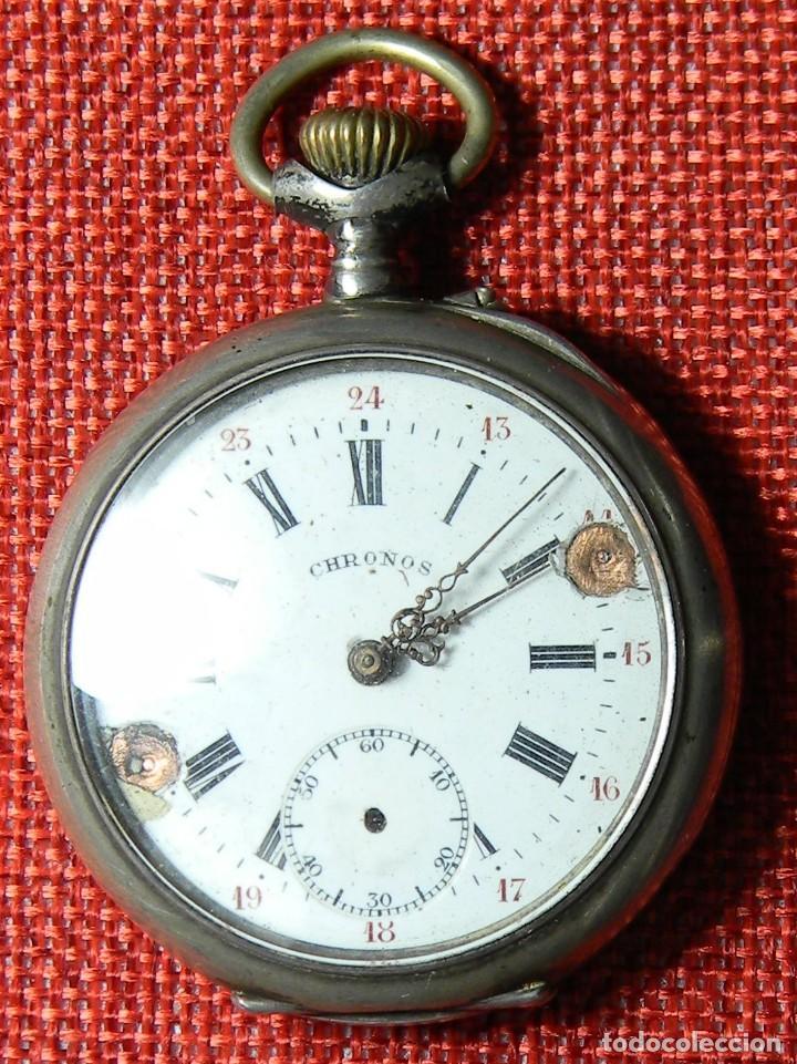 Relojes de bolsillo: Reloj marca Chronos. Tipo Lepine. Caja de plata. Esfera de porcelana. 1910. No funciona. Medalla oro - Foto 9 - 147892478