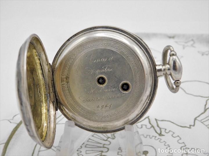 Relojes de bolsillo: RELOJ DE BOLSILLO BENOIT SUIZO-DE PLATA-CON PRECIOSO GRABADO-3 TAPAS-CIRCA 1890-FUNCIONANDO - Foto 4 - 148587174