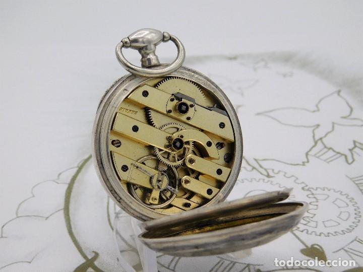 Relojes de bolsillo: RELOJ DE BOLSILLO BENOIT SUIZO-DE PLATA-CON PRECIOSO GRABADO-3 TAPAS-CIRCA 1890-FUNCIONANDO - Foto 7 - 148587174