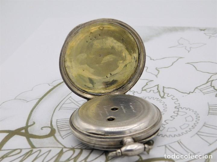Relojes de bolsillo: RELOJ DE BOLSILLO BENOIT SUIZO-DE PLATA-CON PRECIOSO GRABADO-3 TAPAS-CIRCA 1890-FUNCIONANDO - Foto 9 - 148587174