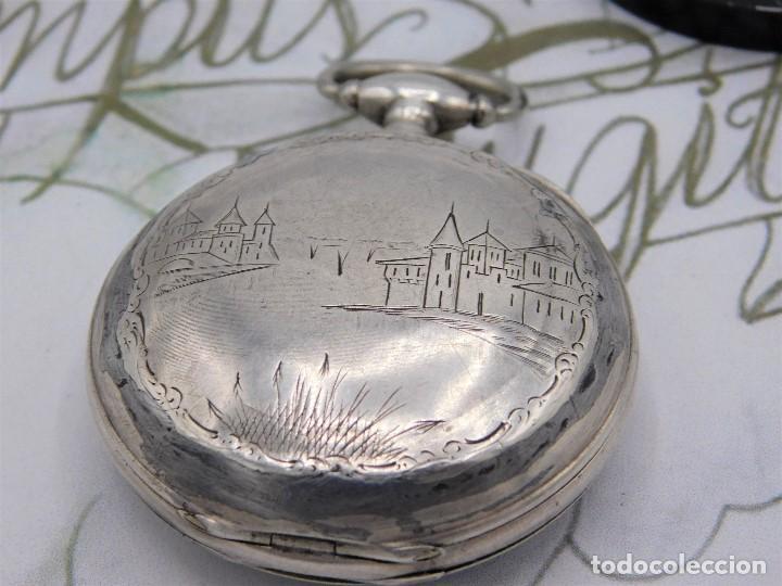 Relojes de bolsillo: RELOJ DE BOLSILLO BENOIT SUIZO-DE PLATA-CON PRECIOSO GRABADO-3 TAPAS-CIRCA 1890-FUNCIONANDO - Foto 10 - 148587174