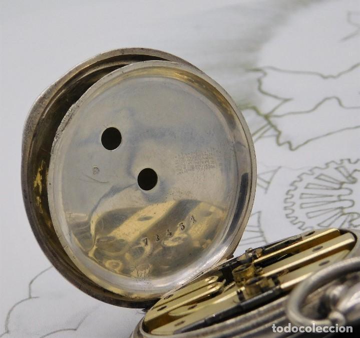Relojes de bolsillo: RELOJ DE BOLSILLO BENOIT SUIZO-DE PLATA-CON PRECIOSO GRABADO-3 TAPAS-CIRCA 1890-FUNCIONANDO - Foto 13 - 148587174