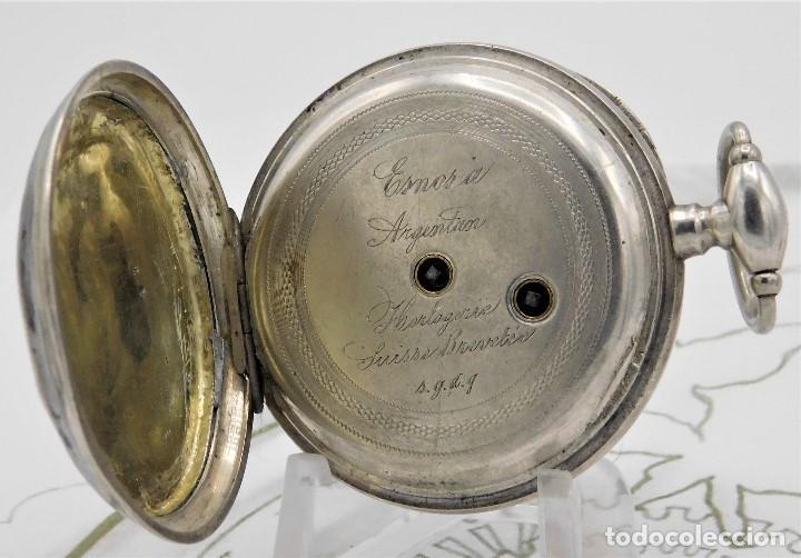 Relojes de bolsillo: RELOJ DE BOLSILLO BENOIT SUIZO-DE PLATA-CON PRECIOSO GRABADO-3 TAPAS-CIRCA 1890-FUNCIONANDO - Foto 14 - 148587174